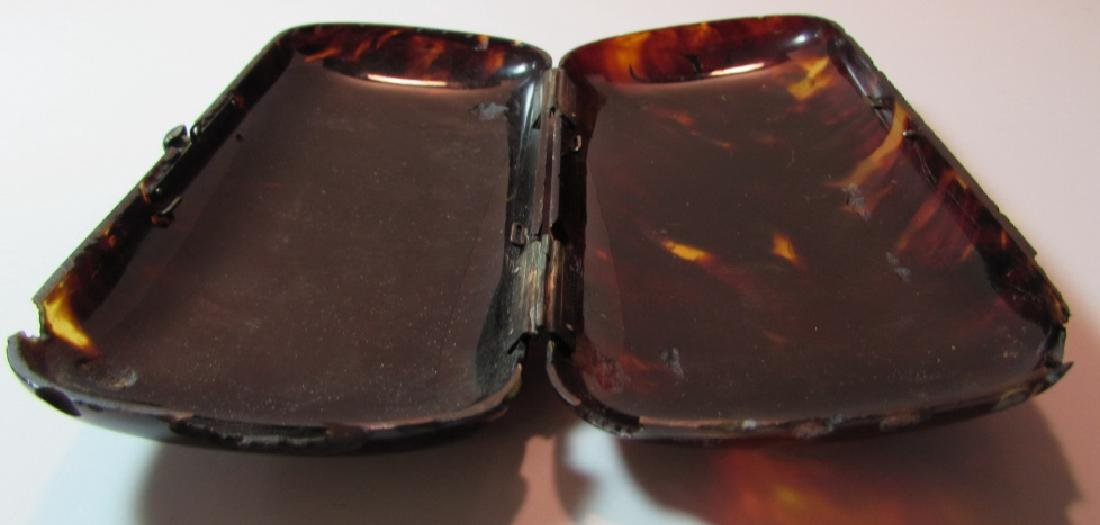 TORTOISE SHELL PURSE GOLD SILVER INLAY CLUTCH CASE - 5