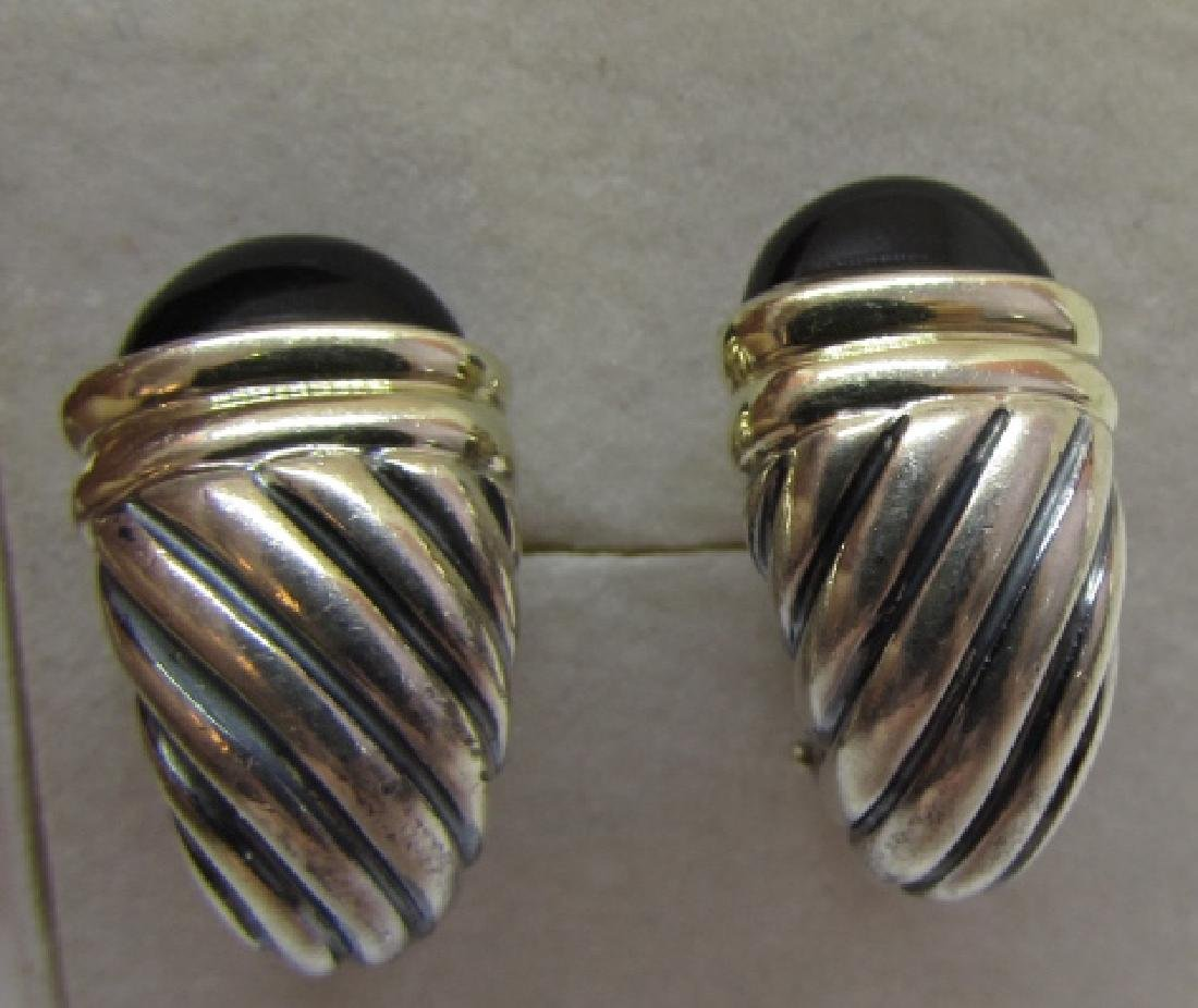 DAVID YURMAN ONYX EARRINGS 14K & STERLING SILVER