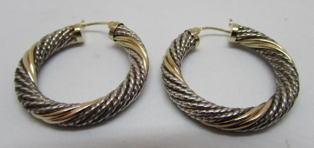 14K GOLD & STERLING SILVER HOOP EARRINGS - 2