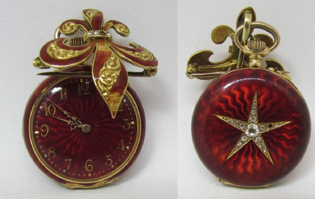18K GOLD POCKET WATCH DIAMOND ENAMEL & PIN