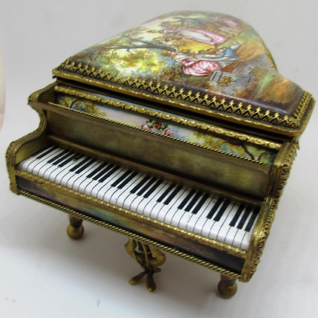 ANTIQUE ENAMEL PAINTED PIANO MUSIC BOX AUSTRIAN
