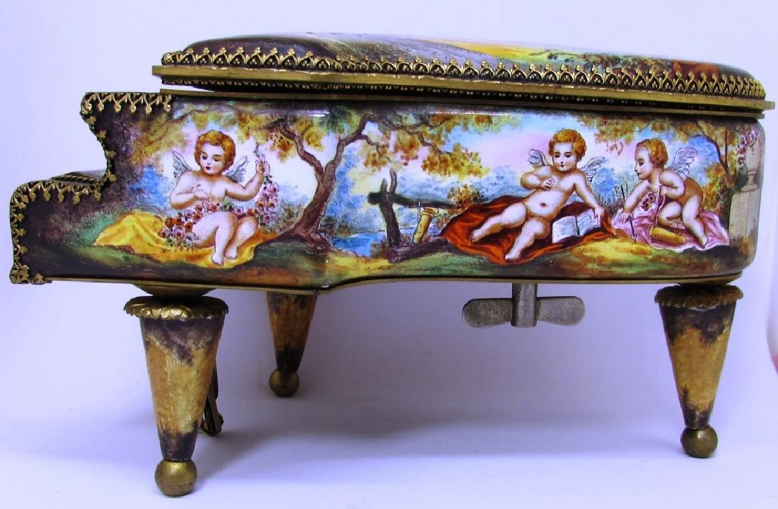 ANTIQUE ENAMEL PAINTED PIANO MUSIC BOX AUSTRIAN - 4