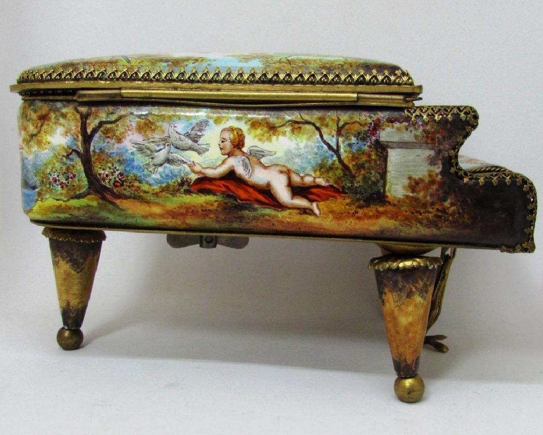 ANTIQUE ENAMEL PAINTED PIANO MUSIC BOX AUSTRIAN - 5