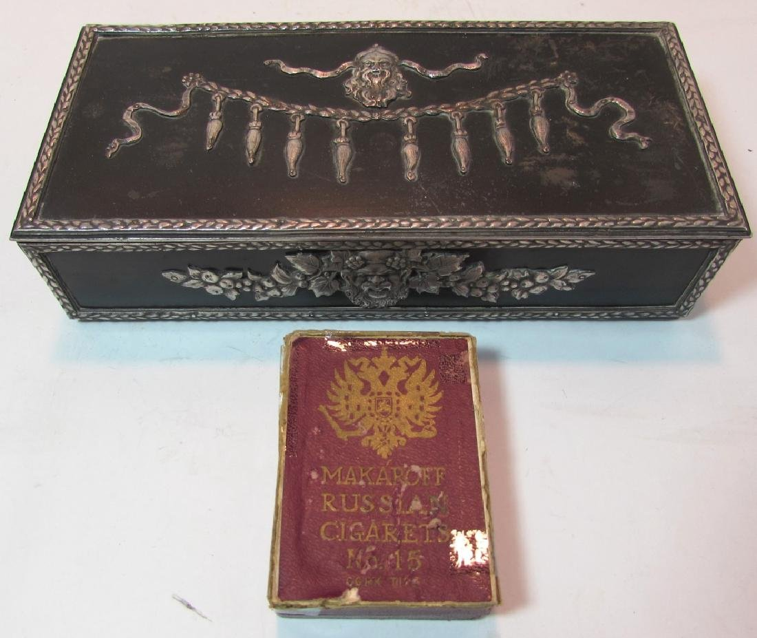 ANTIQUE RUSSIAN CIGARETTE SMOKING BOX SILVER PLATE