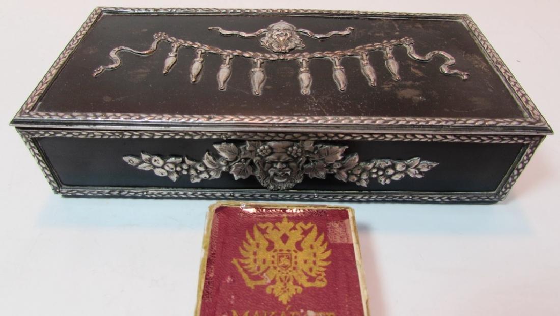 ANTIQUE RUSSIAN CIGARETTE SMOKING BOX SILVER PLATE - 2