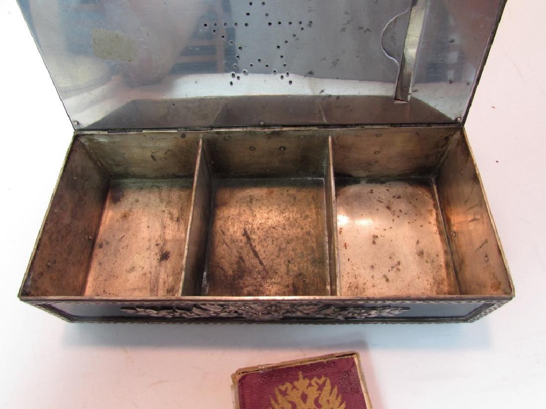 ANTIQUE RUSSIAN CIGARETTE SMOKING BOX SILVER PLATE - 5