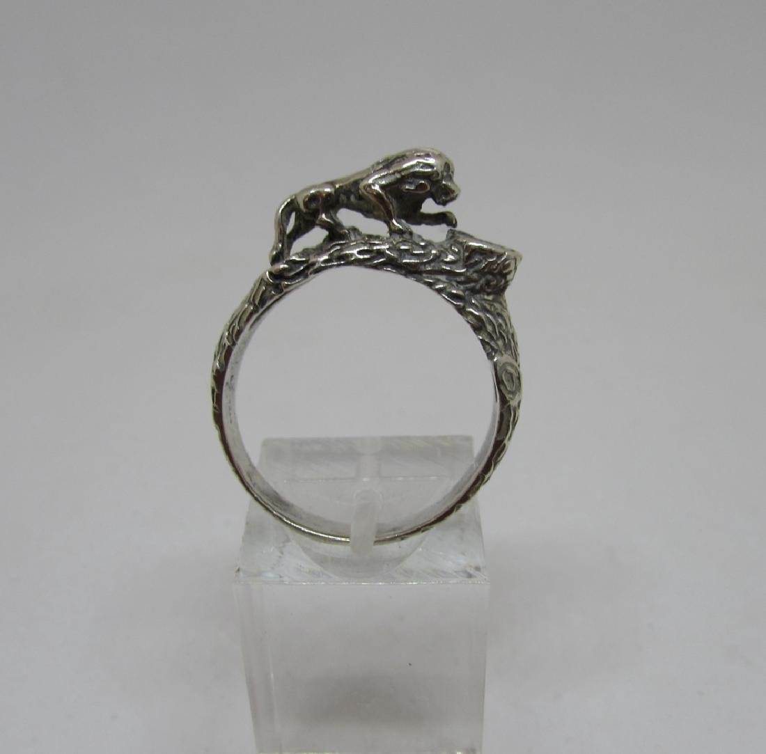 STERLING SILVER LION RING BARK FINISH SIZE 9.25