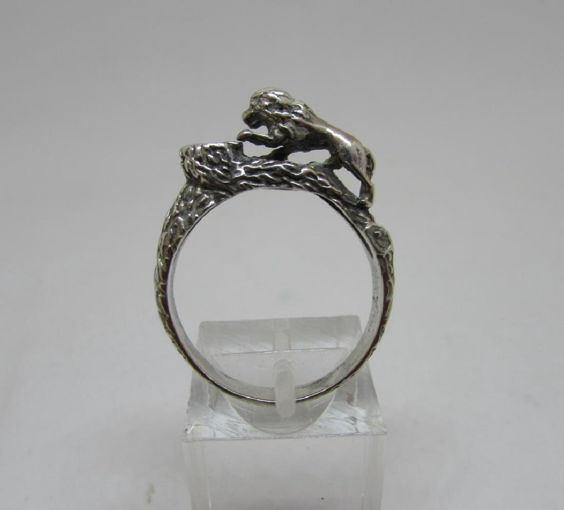 STERLING SILVER LION RING BARK FINISH SIZE 9.25 - 2