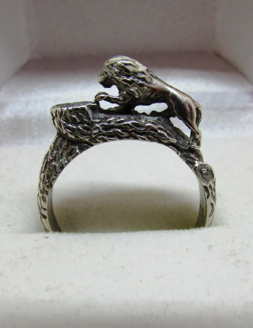 STERLING SILVER LION RING BARK FINISH SIZE 9.25 - 3
