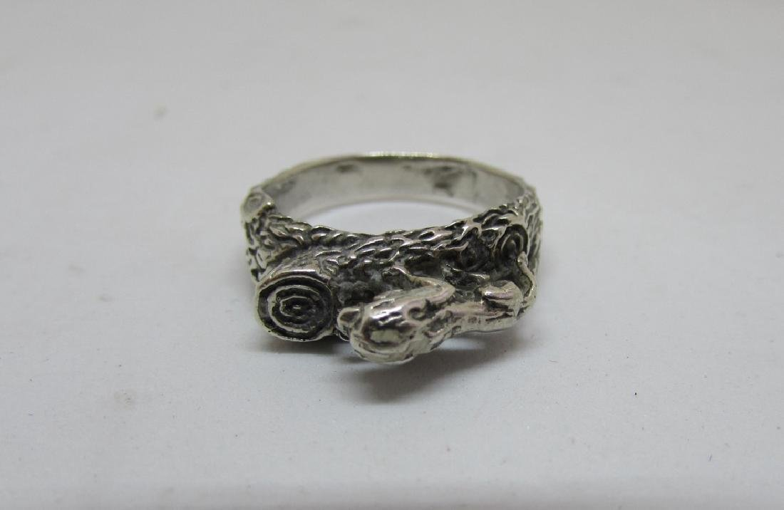STERLING SILVER LION RING BARK FINISH SIZE 9.25 - 4