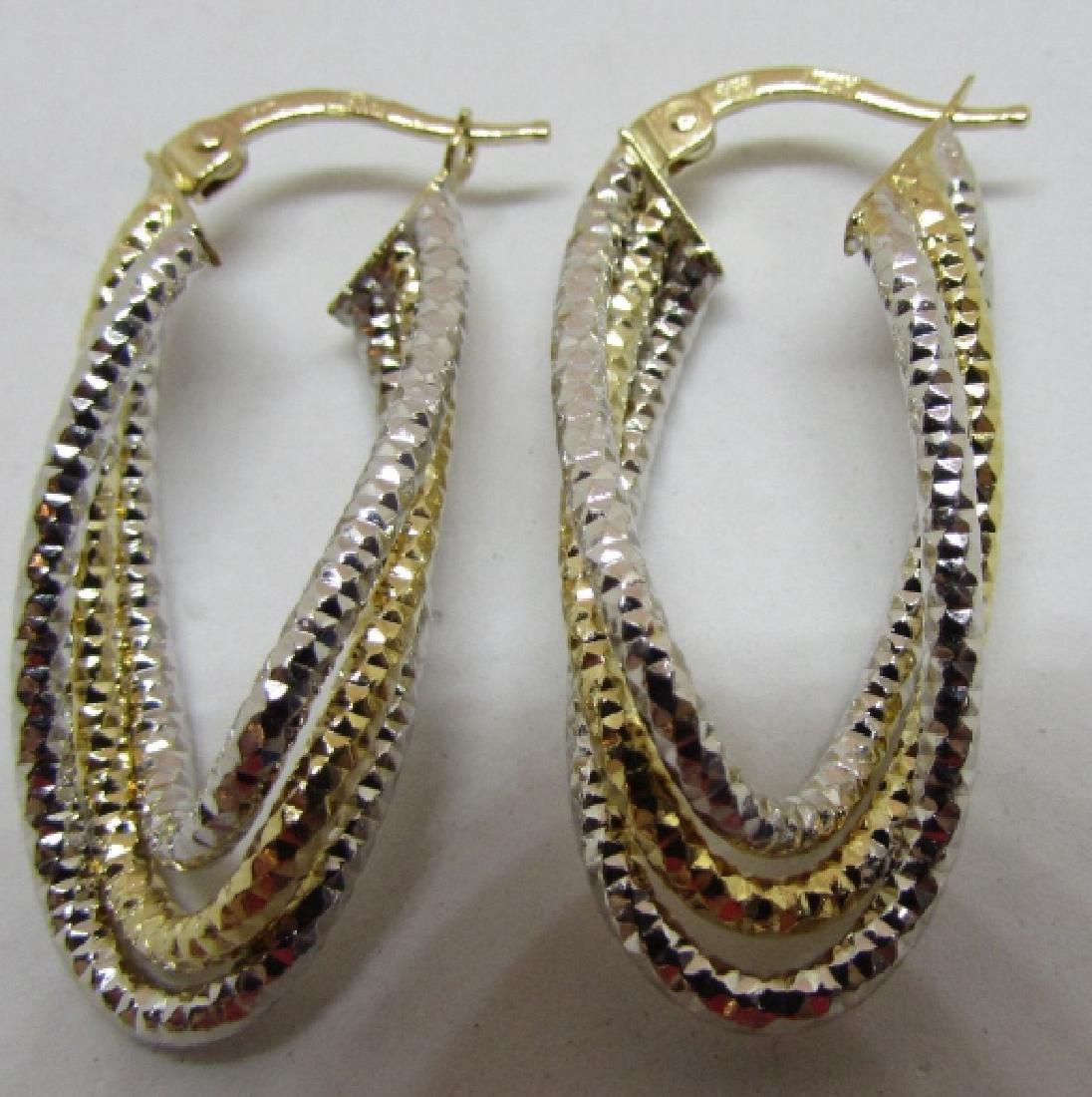 14K WHITE & YELLOW GOLD HOOP EARRINGS DIAMOND CUT