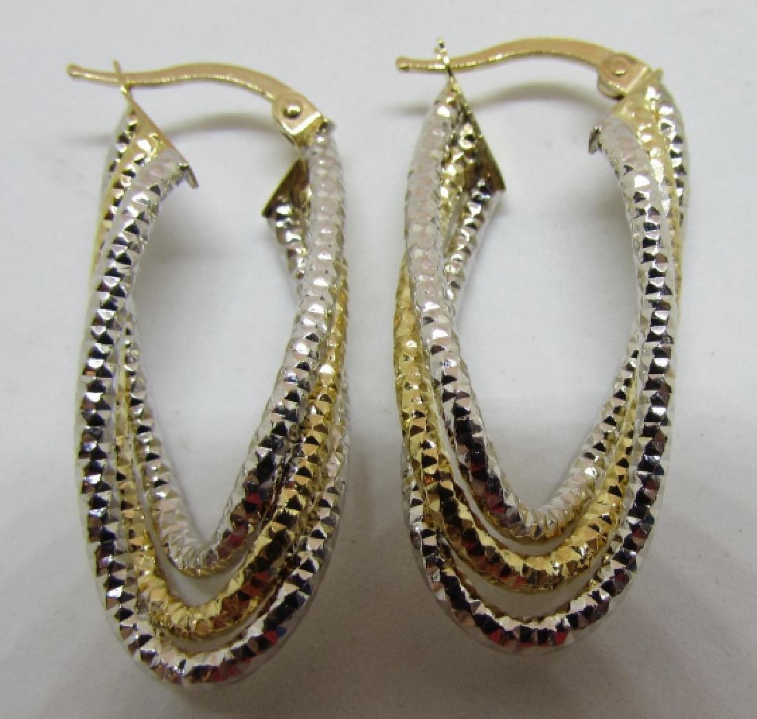 14K WHITE & YELLOW GOLD HOOP EARRINGS DIAMOND CUT - 2