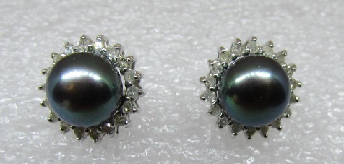 BLACK PEARL .40CT DIAMOND EARRINGS 14K WHITE GOLD