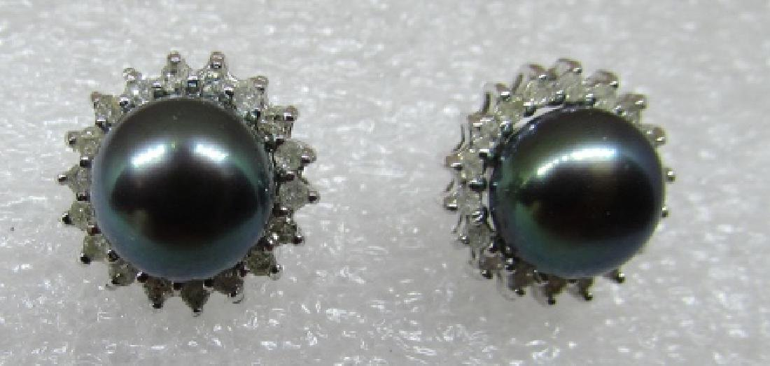BLACK PEARL .40CT DIAMOND EARRINGS 14K WHITE GOLD - 2