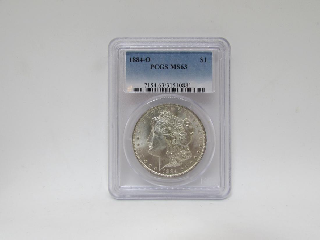 1884 O MORGAN SILVER DOLLAR PCGS MS63 $1 COIN