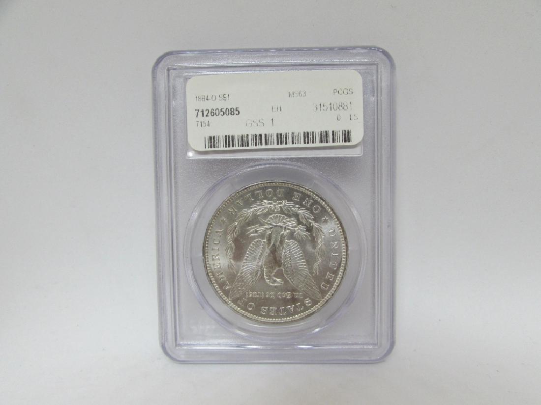 1884 O MORGAN SILVER DOLLAR PCGS MS63 $1 COIN - 2