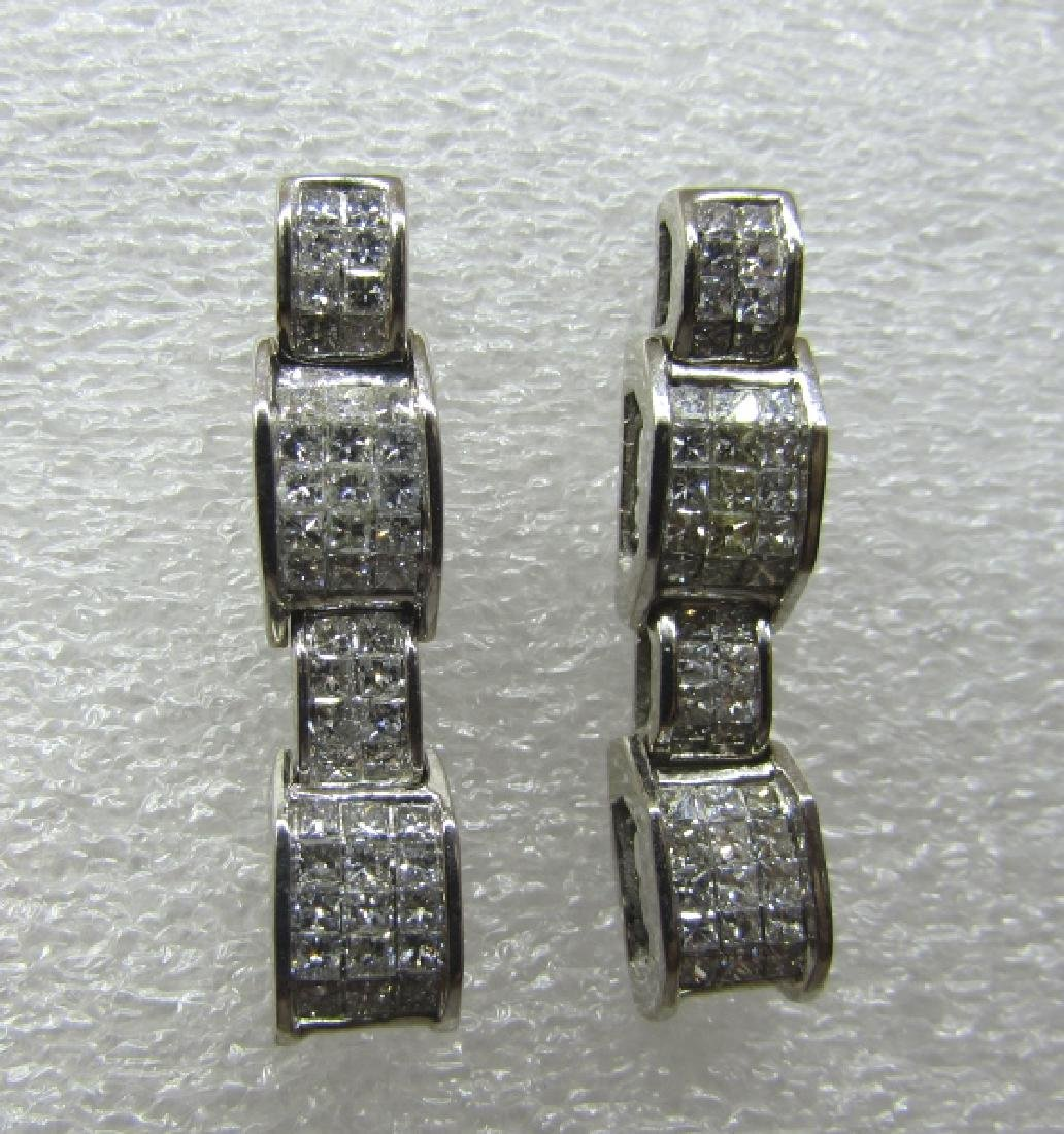 2C INVISIBLE SET PRINCESS CUT DIAMOND EARRINGS 14K