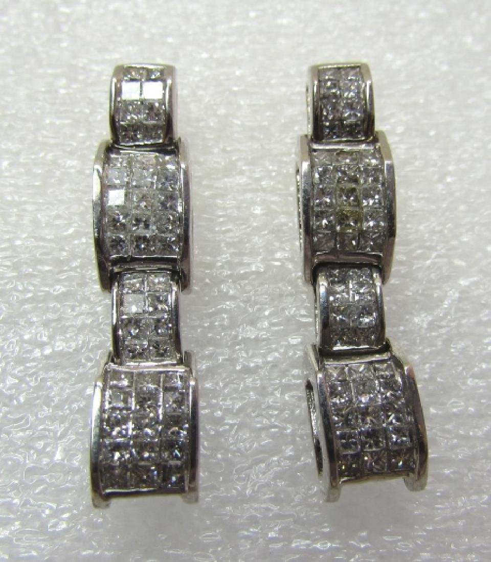 2C INVISIBLE SET PRINCESS CUT DIAMOND EARRINGS 14K - 3