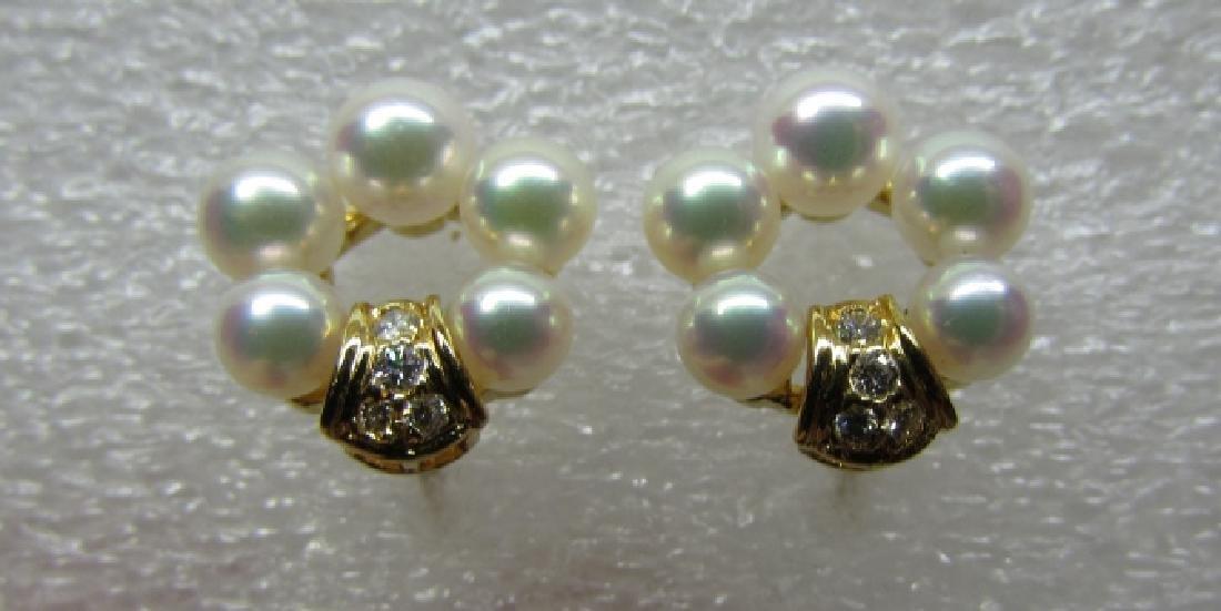 MIKIMOTO PEARL VS DIAMOND EARRINGS 18K GOLD