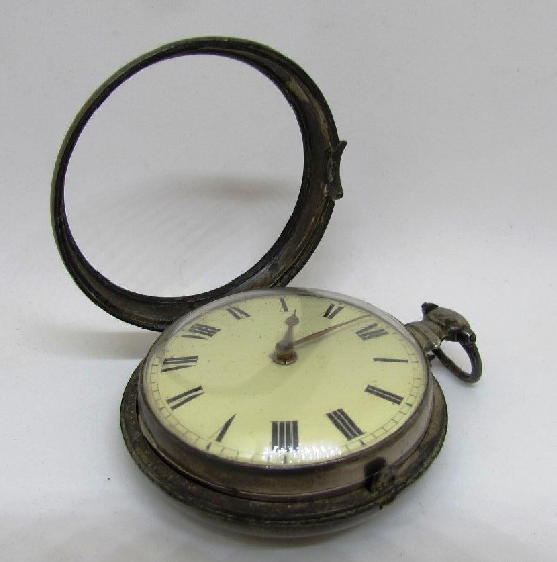 ANTIQUE STERLING SILVER POCKET WATCH MARKED - 3