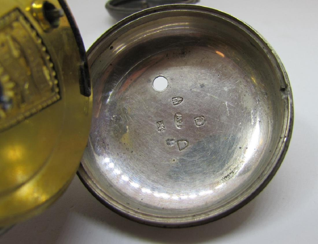 ANTIQUE STERLING SILVER POCKET WATCH MARKED - 7