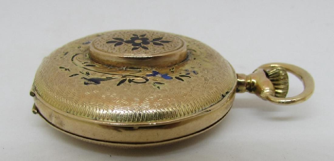 ANTIQUE 14k GOLD POCKET WATCH FLORAL ENAMEL - 4