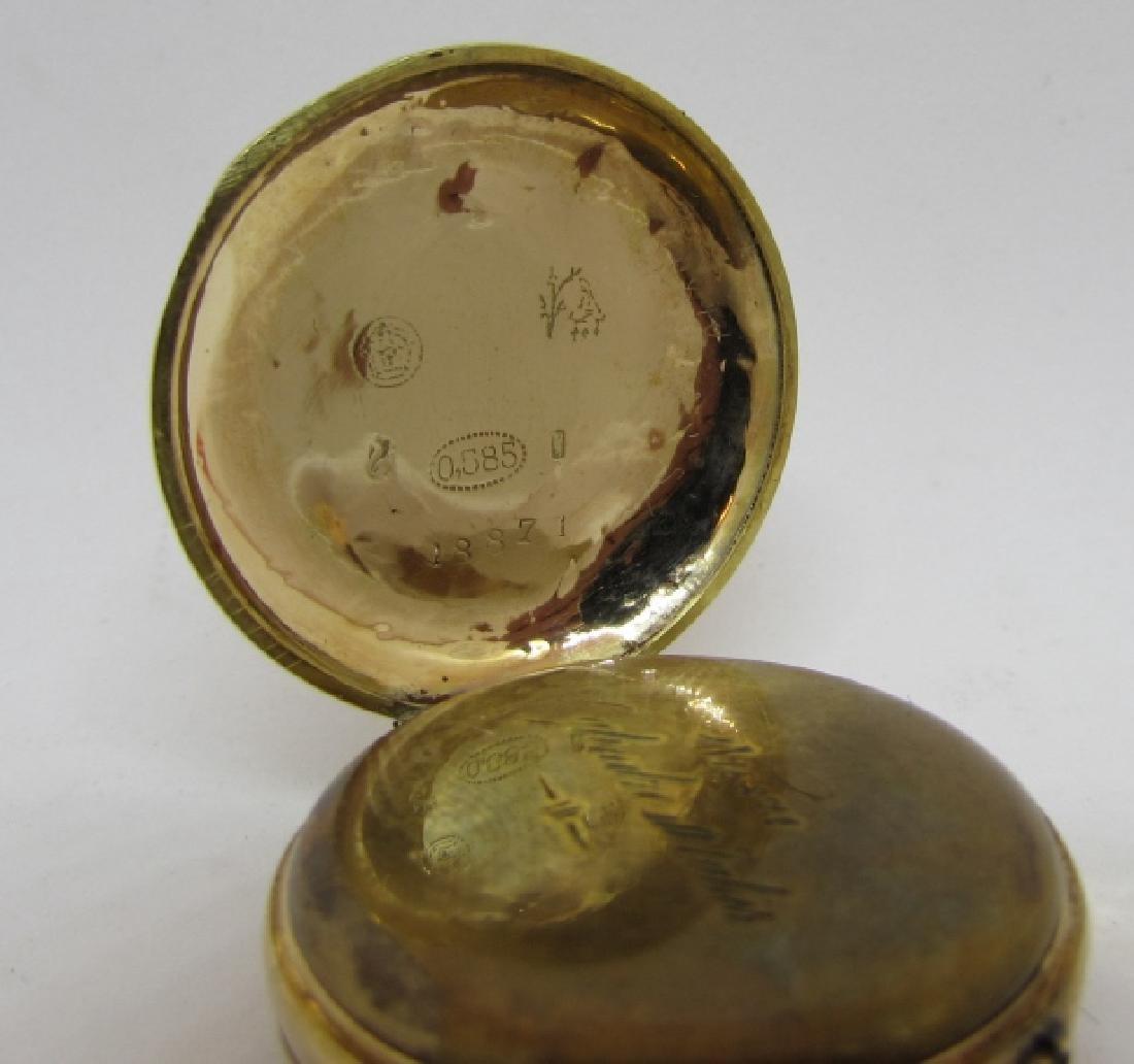 ANTIQUE 14k GOLD POCKET WATCH FLORAL ENAMEL - 5