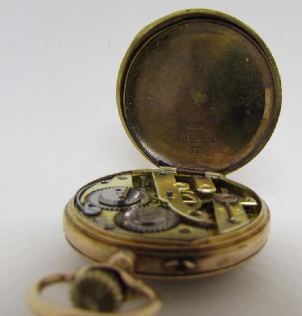 ANTIQUE 14k GOLD POCKET WATCH FLORAL ENAMEL - 7