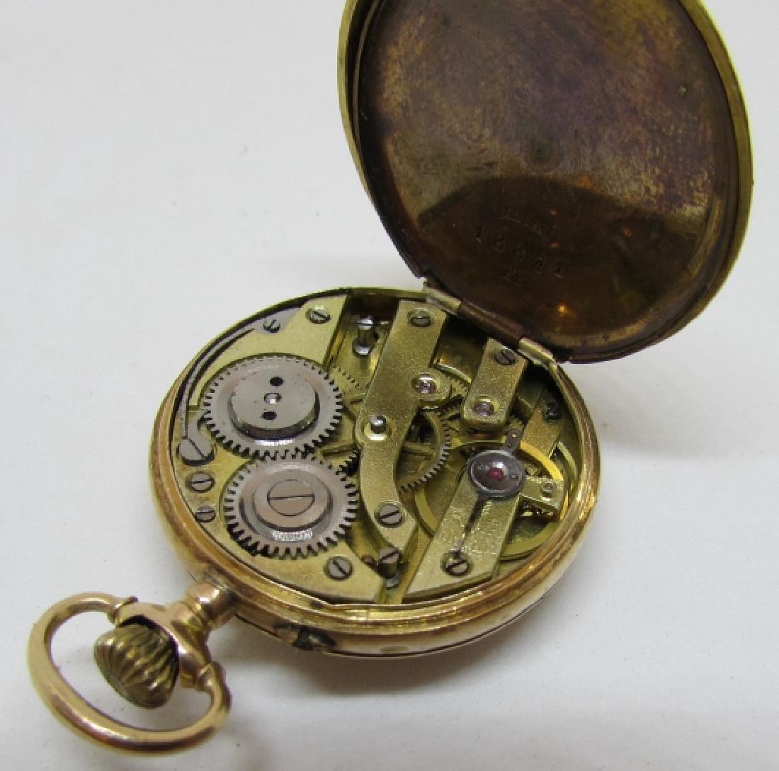ANTIQUE 14k GOLD POCKET WATCH FLORAL ENAMEL - 8