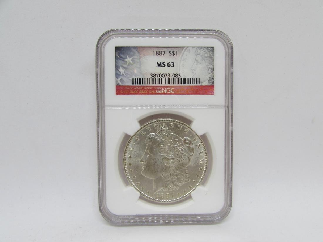 1887 MORGAN SILVER DOLLAR NGC MS63 $1 COIN