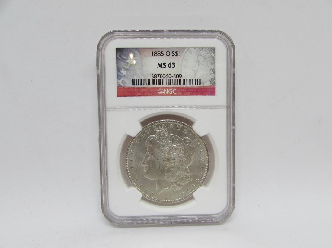 1885 O MORGAN SILVER DOLLAR MS63 NGC $1 COIN