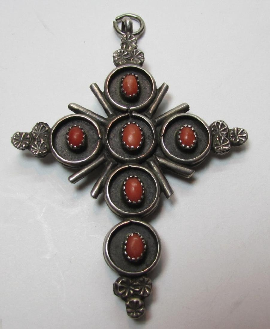 ZUNI TURQUOISE CORAL CROSS STERLING SILVER PENDANT - 2