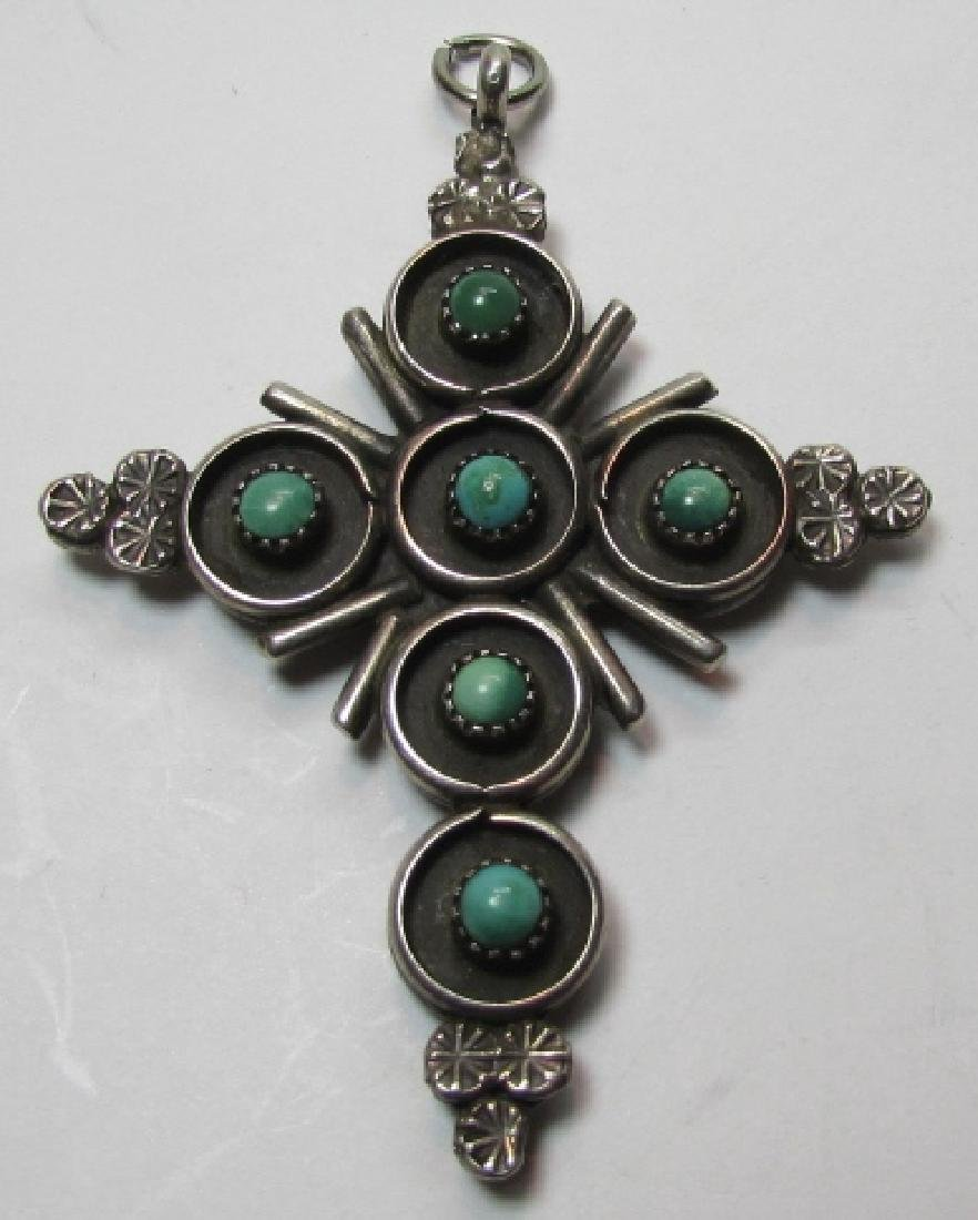 ZUNI TURQUOISE CORAL CROSS STERLING SILVER PENDANT - 3