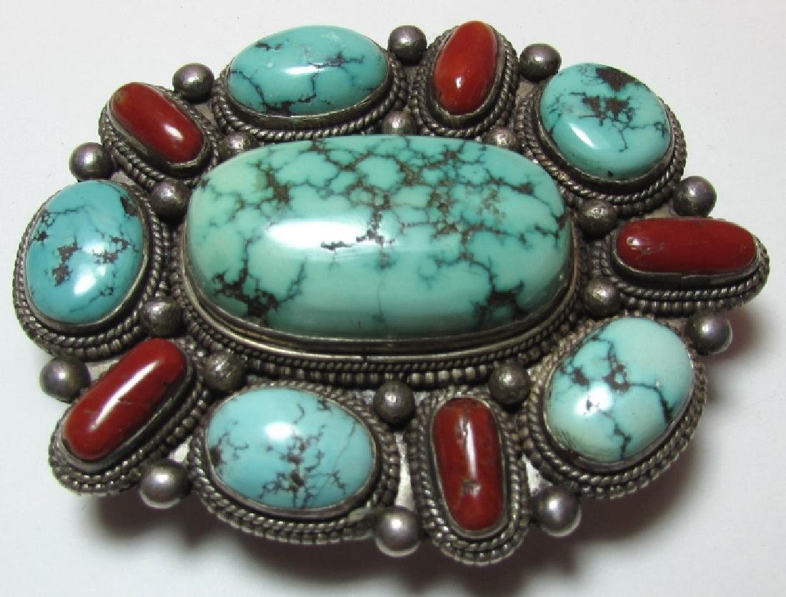 KINGMAN TURQUOISE CORAL BELT BUCKLE COIN SILVER