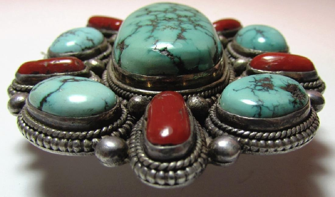 KINGMAN TURQUOISE CORAL BELT BUCKLE COIN SILVER - 2