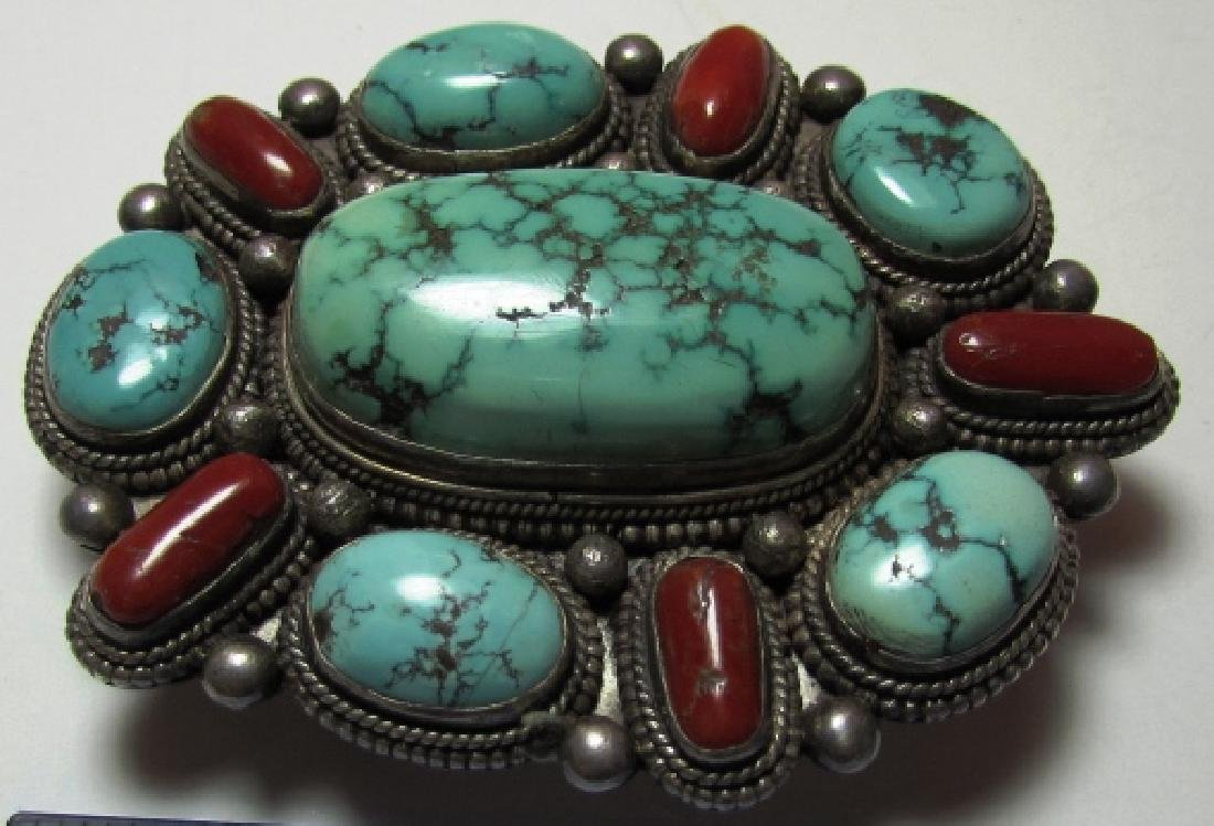 KINGMAN TURQUOISE CORAL BELT BUCKLE COIN SILVER - 4