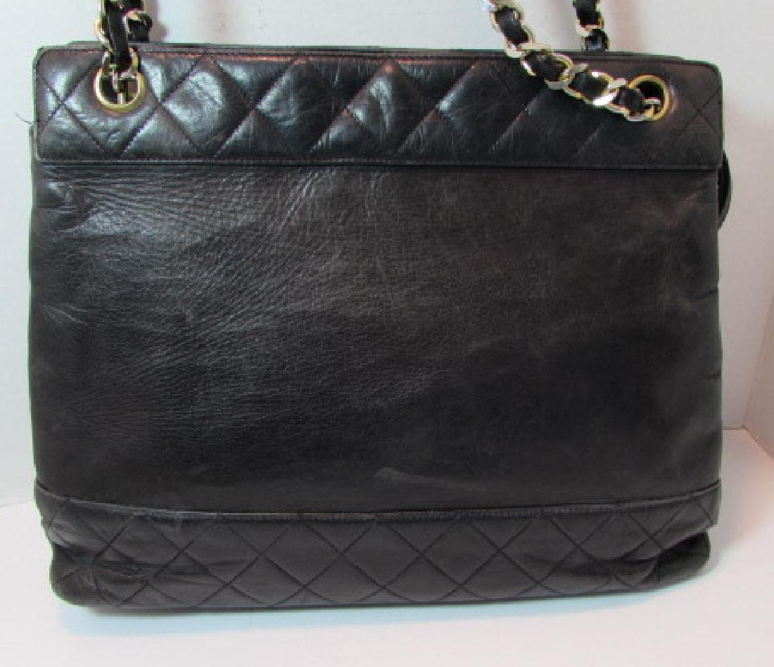 AUTH CHANEL QUILTED LAMBSKIN LEATHER TOTE PURSE