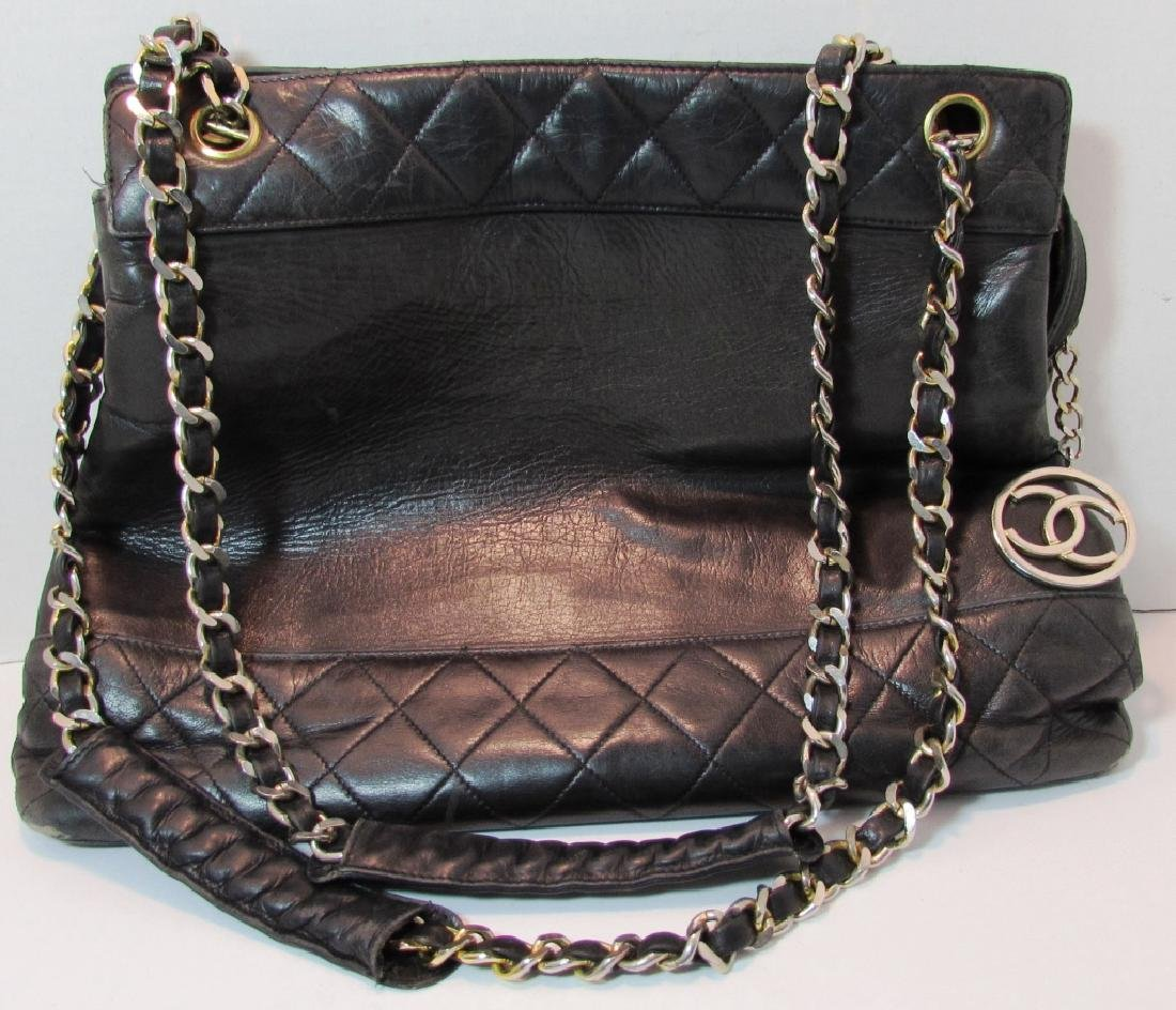 AUTH CHANEL QUILTED LAMBSKIN LEATHER TOTE PURSE - 2