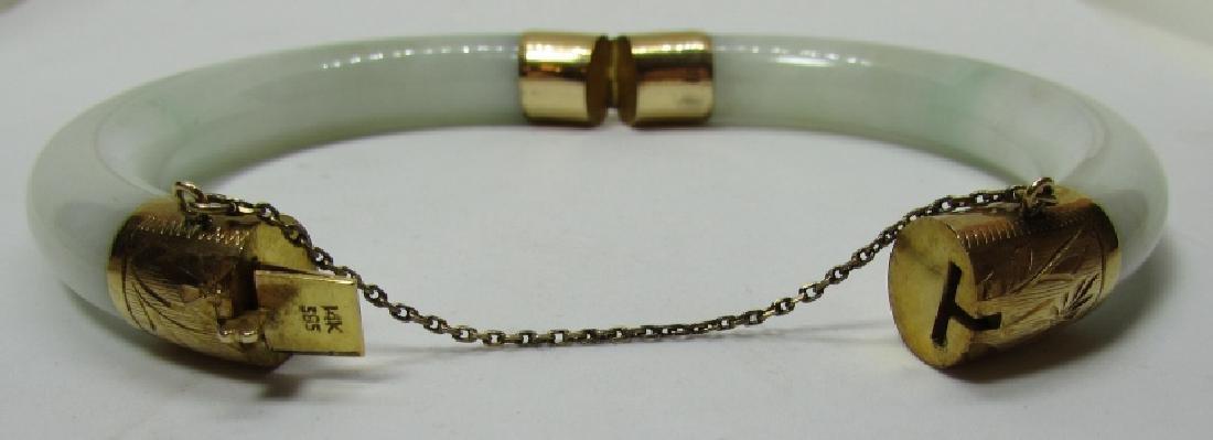 14K GOLD 11MM JADE BANGLE BRACELET 65 GRAMS - 2