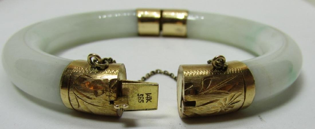 14K GOLD 11MM JADE BANGLE BRACELET 65 GRAMS - 3