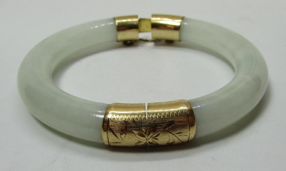 14K GOLD 11MM JADE BANGLE BRACELET 65 GRAMS - 4