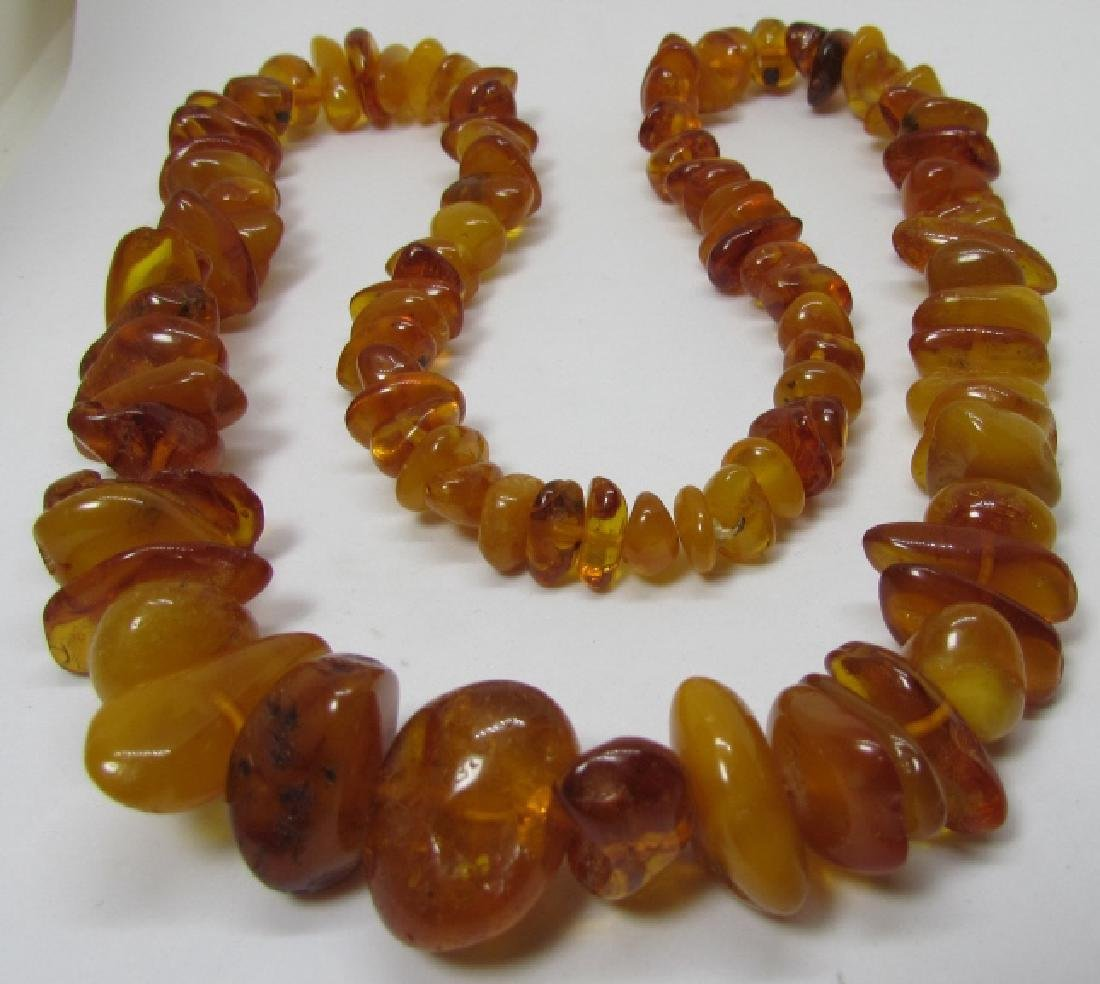 "GRADUATED AMBER BEAD NECKLACE 27"" STRAND 88 GRAMS - 2"