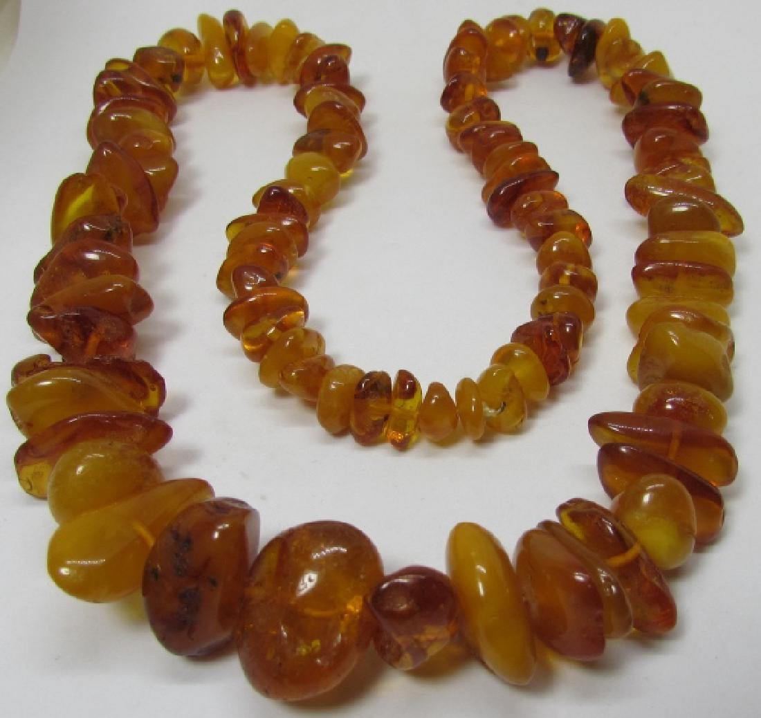 "GRADUATED AMBER BEAD NECKLACE 27"" STRAND 88 GRAMS - 3"