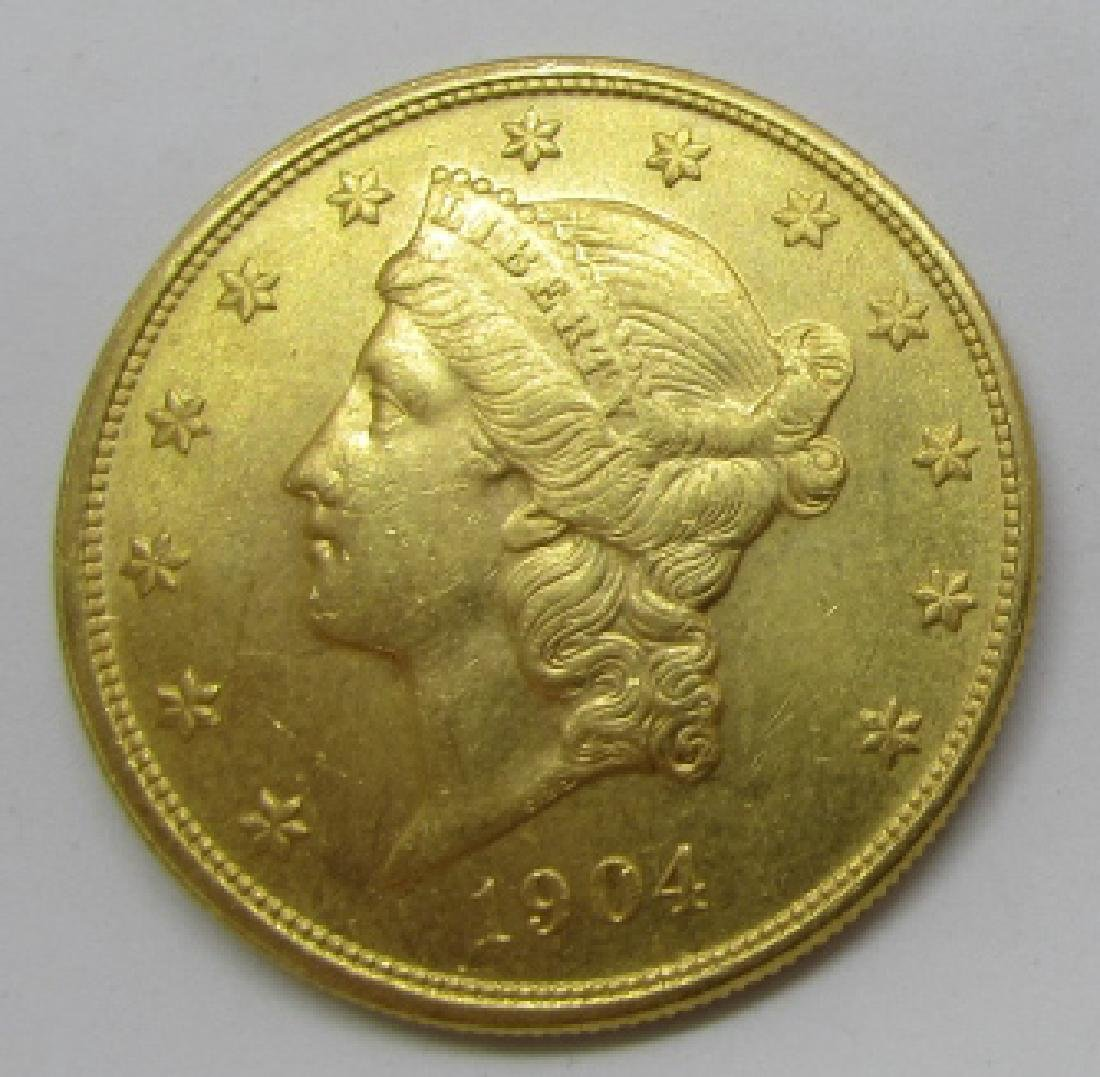 1904 UNC 20 DOLLAR US GOLD LIBERTY COIN
