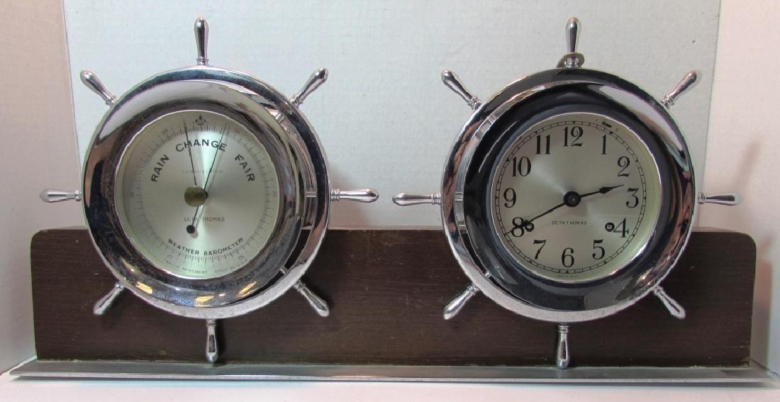 SETH THOMAS SHIPS CLOCK AND BAROMETER SET