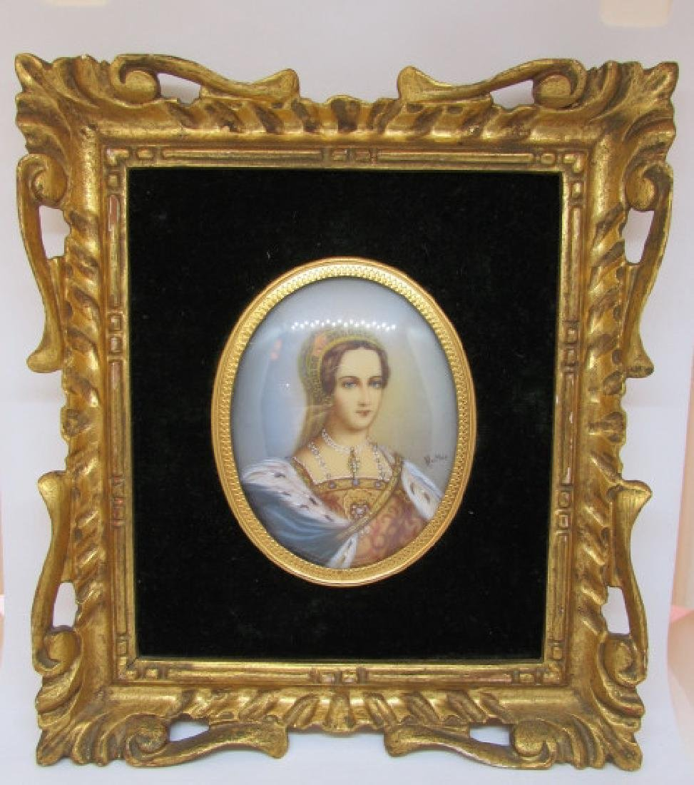 ANTIQUE PAINTING ON BONE IN FRAME SIGNED