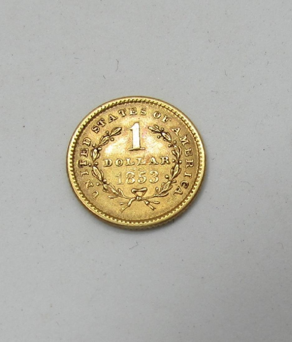 1853 US 1 DOLLAR GOLD COIN - 2
