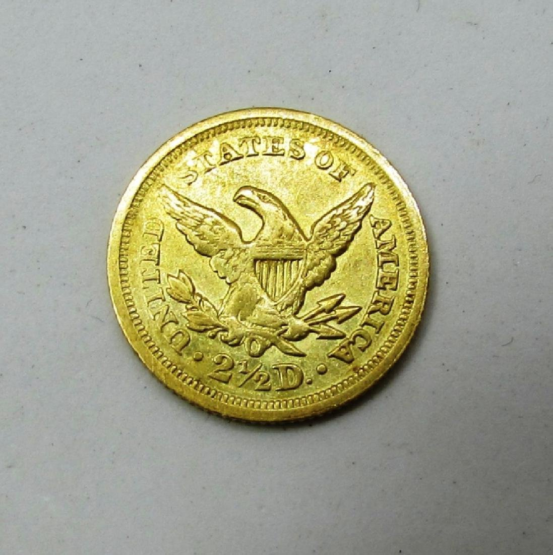 1850 O MINT US 2 1/2 DOLLAR GOLD COIN - 2