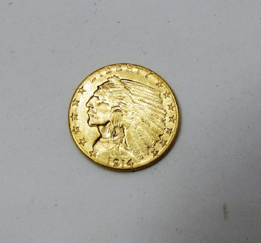 1914 GOLD INDIAN 2 1/2 DOLLAR COIN