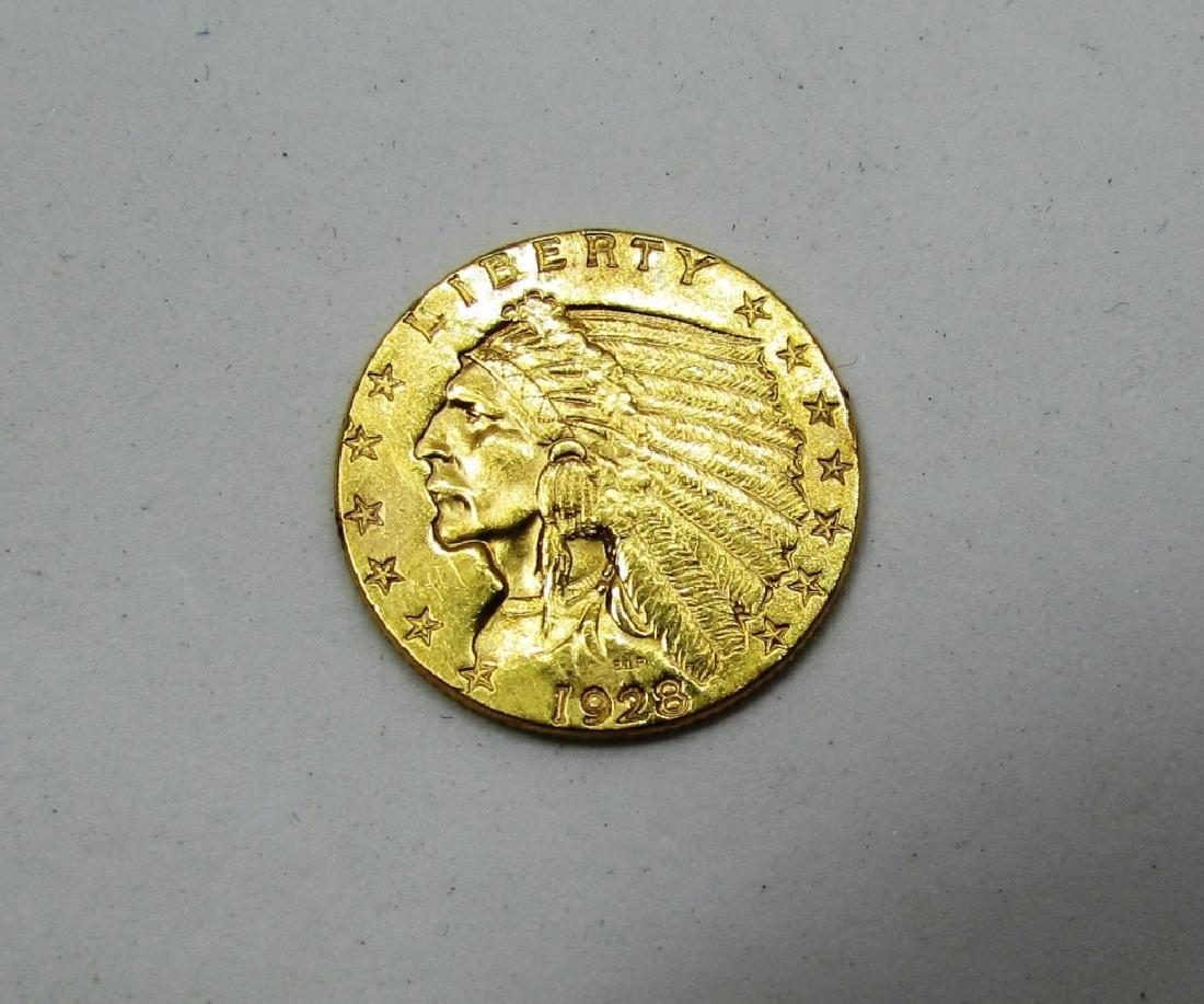 1928 GOLD 2 1/2 DOLLAR INDIAN COIN